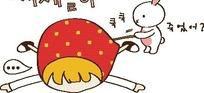 矢量卡通插画 肚子痛的小女孩和小白兔