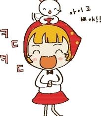 矢量卡通插画-开心快乐的小女孩和小白兔