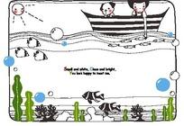 小船上玩着水的小男孩和海底可爱小鱼