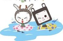 游泳的小猫小兔子