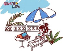 卡通儿童插画——穿着比基尼阳伞下边和饮料边看视频的女孩