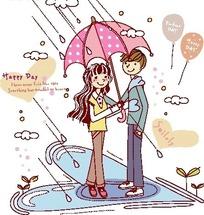 插画情侣红色雨中漫步打伞的人物漫画记忆卡通图片