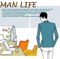 男人生活插画—办公桌后的男人