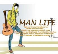 男人生活插画—背着吉他的男人