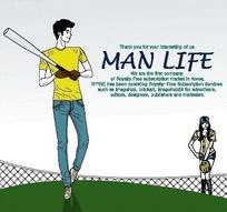男人生活插画—打棒球的男人女人