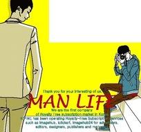 男人生活插画—给男人照相的男人