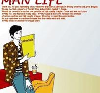 男人生活插画—靠在办公桌上的男人