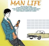 男人生活插画—拿着耳机的男人
