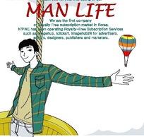 男人生活插画—热气球上张开双臂的男人