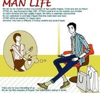 男人生活插画—手提袋和坐着的男人以及女人
