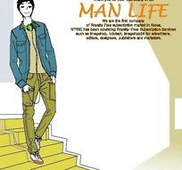男人生活插画—台阶上的男人