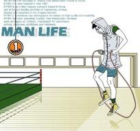 男人生活插画—跳绳的男人