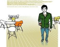 男人生活插画—桌椅前拿着饮料杯的男人