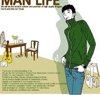 男人生活插画—左手插在裤兜里的男人