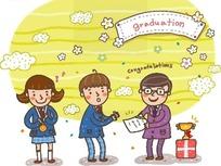 矢量卡通插画-颁发奖状的老师和小学生图片
