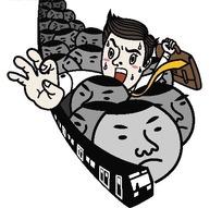插画—挤地铁的男人