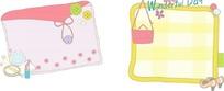 卡通插画 可爱的纽扣布包和女士格子布