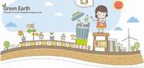 绿色地球插画—扔垃圾的女人