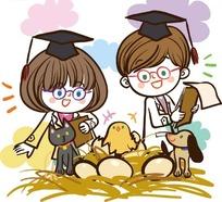 儿童卡通插画——记录小鸡破蛋的小男孩和小女孩