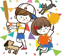 儿童卡通插画——拉拉队小女孩和打棒球的小男孩