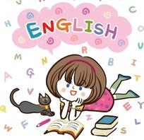 儿童卡通插画——趴着看书的小女孩和陪同的小猫咪