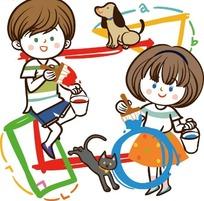 小女孩和小男孩_矢量卡通插画-把老师举起的小男孩和小女孩
