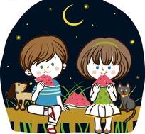 儿童卡通插画——星空下吃着西瓜的小女孩和小男孩