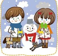 儿童卡通插画——雪地上可爱雪人和小朋友