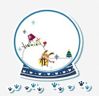 卡通动物插画-堆雪人的小兔子