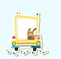 卡通动物插画-开车的小兔子