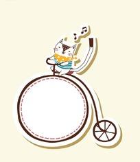 卡通动物插画-骑单车的小兔子