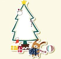 卡通动物插画-圣诞节收到礼物的小兔子