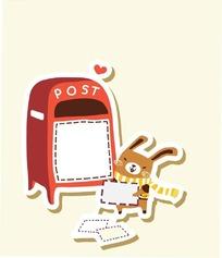 卡通动物插画-往邮箱寄信的小兔子
