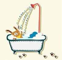 卡通动物插画-在浴缸淋浴的小兔子