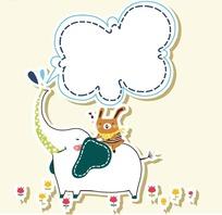 卡通动物插画-坐在大象上的小兔子