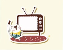 卡通动物插画-坐着看电视的小猫