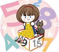 卡通画—数字前坐在正方体上的女孩和猫