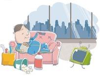 卡通插画——躺在沙发上看电视吃零食的男人