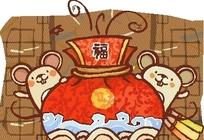 卡通动物插画 红包后探出的老鼠