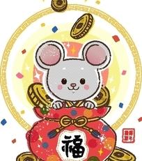 卡通动物插画 红色福字包内的老鼠和金币