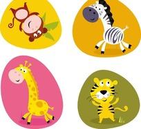 卡通动物插画  开心的野生动物