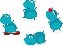 卡通动物插画  蓝色的河马