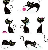 卡通动物插画 绿色眼睛的黑猫