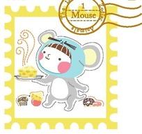 卡通动物插画 拿着奶酪的老鼠图案邮票
