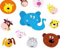 卡通动物头像 大象狮子小狗绵羊老虎小猪