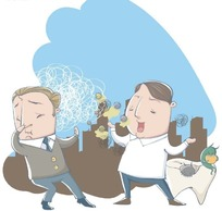 卡通人物插画-朝医生打喷涕的男人