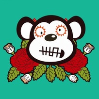 卡通动物插画-红色玫瑰花和猴子头像