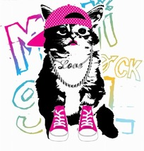 矢量印花图案-潮流戴项链的猫和布鞋