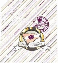 手绘卡通插画 斜纹圆环的旗帜皇冠标志