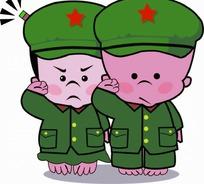 动漫卡通 敬礼 绿军装的小男孩和小女孩